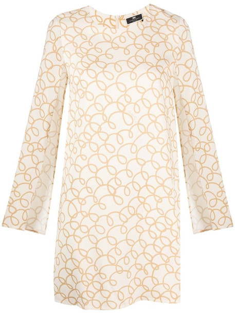 Elisabetta Franchi slit-sleeve minidress in neutrals