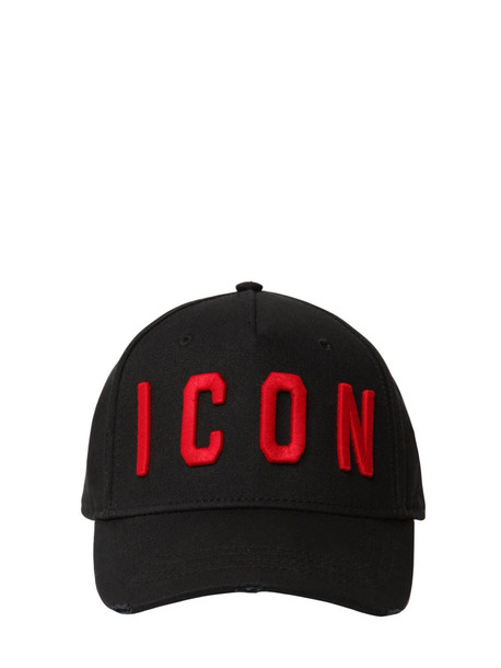 DSQUARED2 Icon Cotton Canvas Baseball Hat in black / red