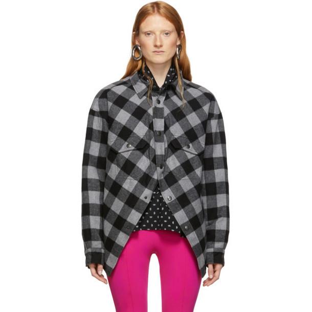 Balenciaga Grey and Black Check Flannel Swing Canadian Jacket
