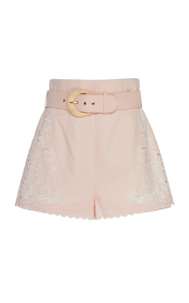 Zimmermann Embroidered Broderie Anglaise Linen Shorts Size: 0 in pink