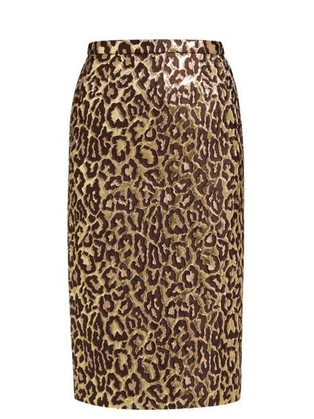 Rochas - Oncidium Leopard Brocade Pencil Skirt - Womens - Leopard