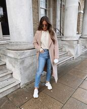 jeans,ripped jeans,white sneakers,sweater,long coat