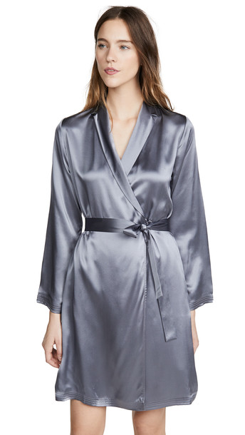 La Perla Silk Short Robe in silver