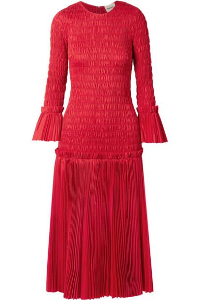 Khaite - Mariella Shirred Pleated Cotton-poplin Midi Dress in red