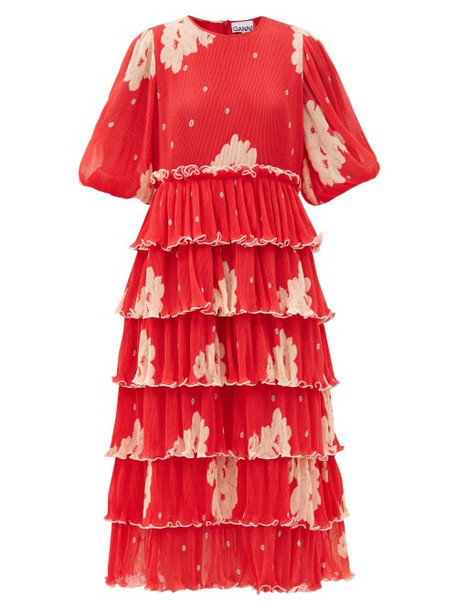 Ganni - Tiered Floral-print Pleated-georgette Midi Dress - Womens - Red