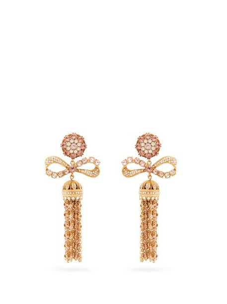 Dolce & Gabbana - Crystal-embellished Tasseled-drop Clip Earrings - Womens - Gold