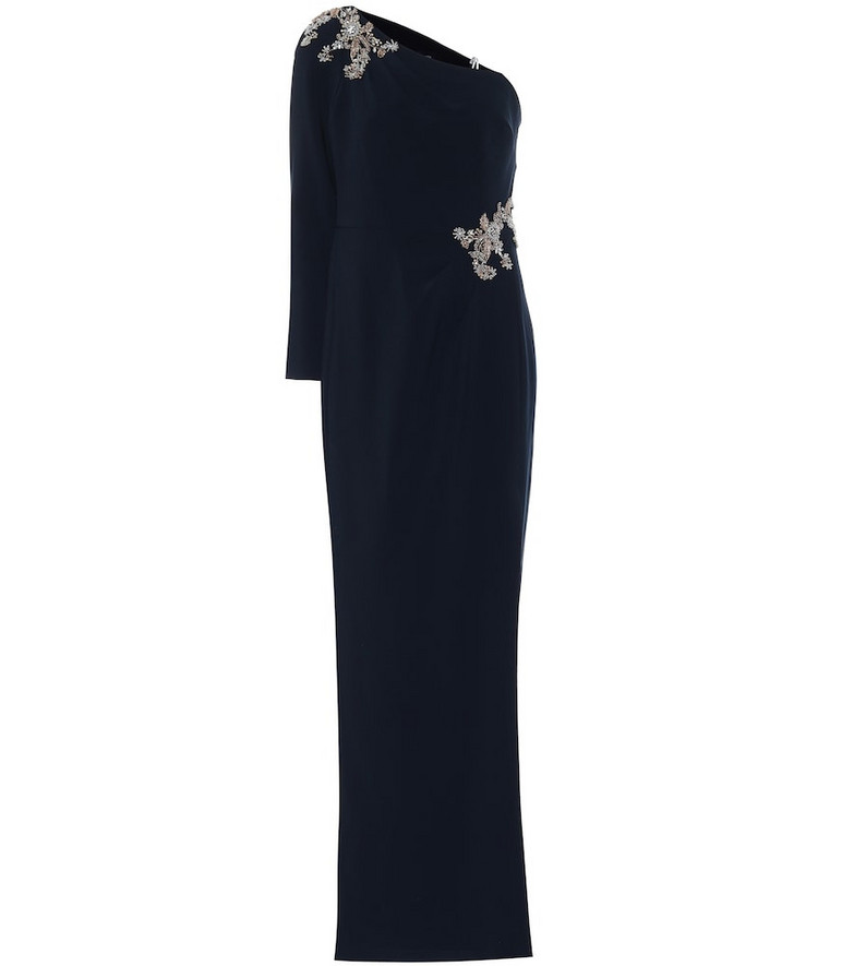 Marchesa Notte Beaded crêpe gown in blue