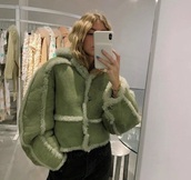 jacket,green,green jacket,winter outfits,winter coat