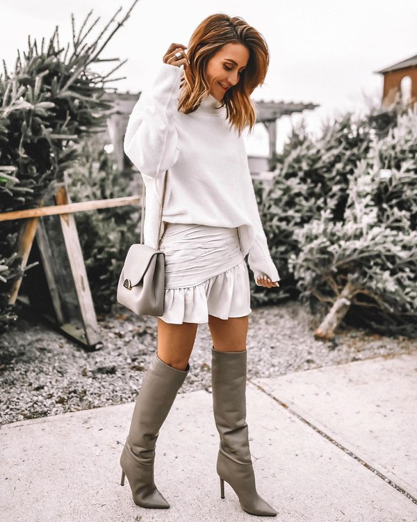 skirt mini skirt knee high boots white sweater turtleneck sweater bag