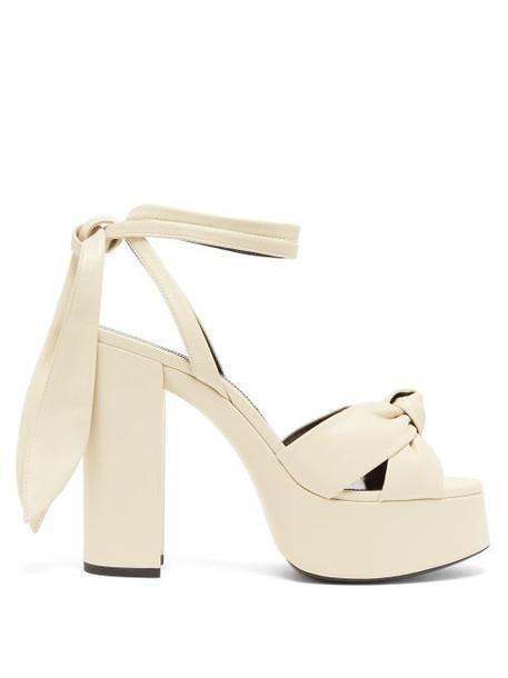 Saint Laurent - Bianca Leather Platform Sandals - Womens - Cream