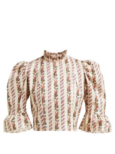 Batsheva - Floral Print Cropped Cotton Top - Womens - Cream Multi