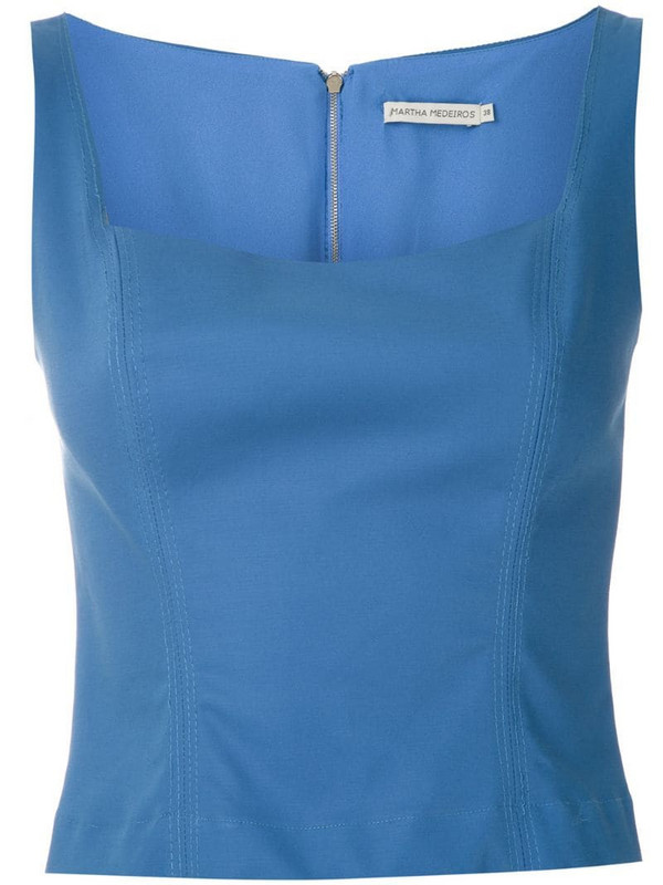 Martha Medeiros Anne square neck tank in blue