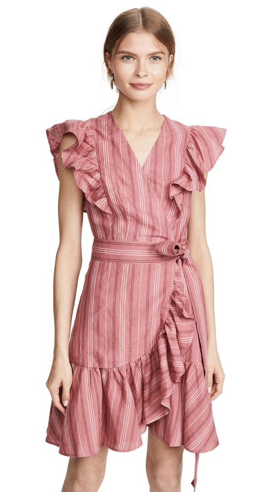 Rebecca Taylor Sleeveless Stripe Wrap Dress in rose