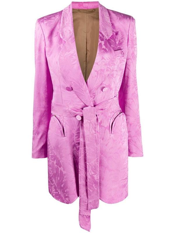 Blazé Milano floral print belted blazer in pink