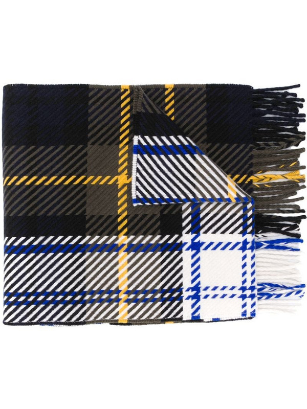 Mackintosh fringed tartan scarf in green