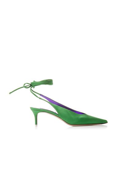 Attico Caterina Satin Slingbacks Size: 38 in green
