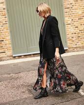 dress,floral dress,maxi dress,slit dress,black boots,ankle boots,black coat