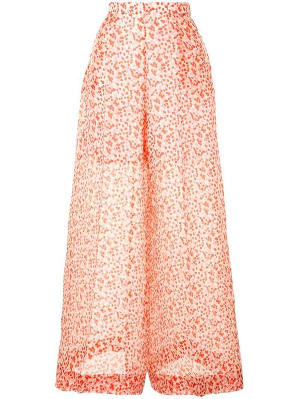 Delpozo polka-dot print wide-leg trousers in white