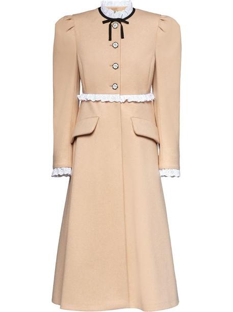 Miu Miu button-front coat in neutrals
