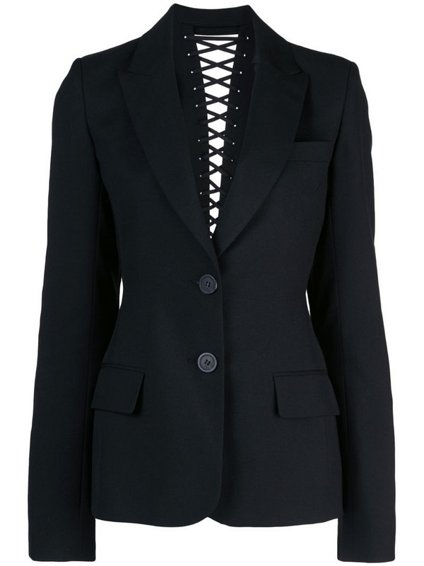Vera Wang lace up back detail blazer in black