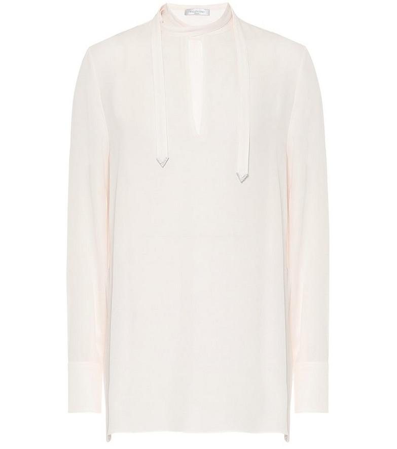 Valentino Embellished silk-crêpe blouse in white