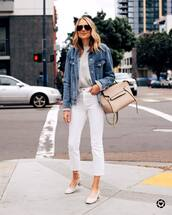 jacket,denim jacket,oversized jacket,white jeans,cropped jeans,skinny jeans,pumps,grey sweater,bag