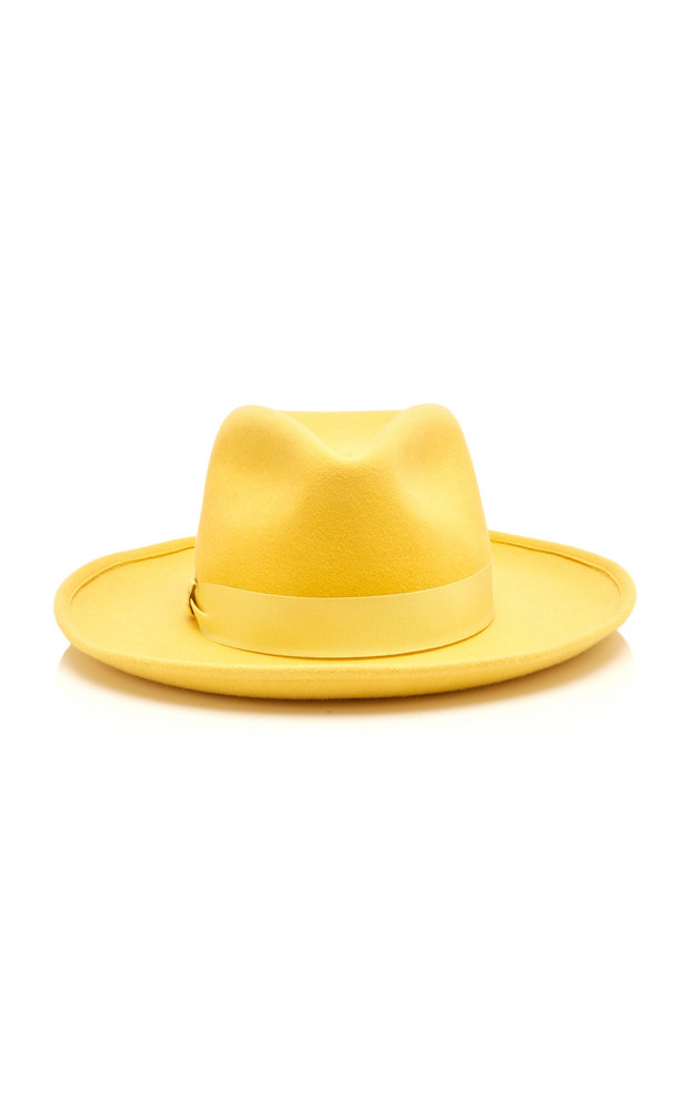 Federica Moretti Wide-Brimmed Felt Fedora in yellow