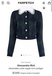 sweater,alessandra rich,argyle,far fetch,cardigan,preppy,navy,green