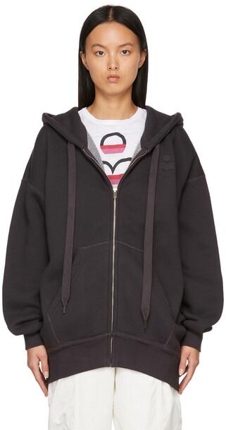 Isabel Marant Etoile Grey Minila Zip Hoodie in black