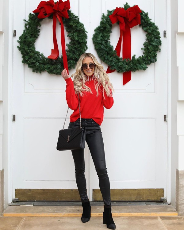 pants black leather pants ankle boots black boots black bag ysl bag red sweater
