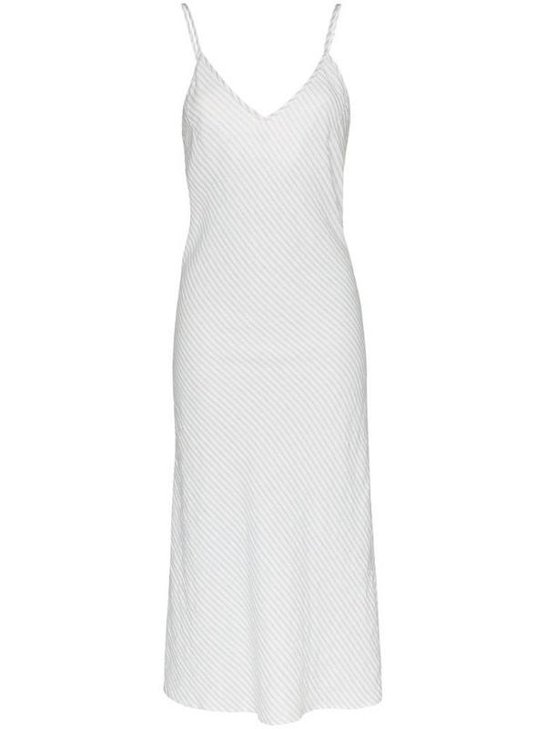 Pour Les Femmes stripe slip dress in white