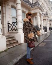 bag,brown bag,shoulder bag,brown boots,platform boots,cropped jeans,straight jeans,leopard print,coat,beret