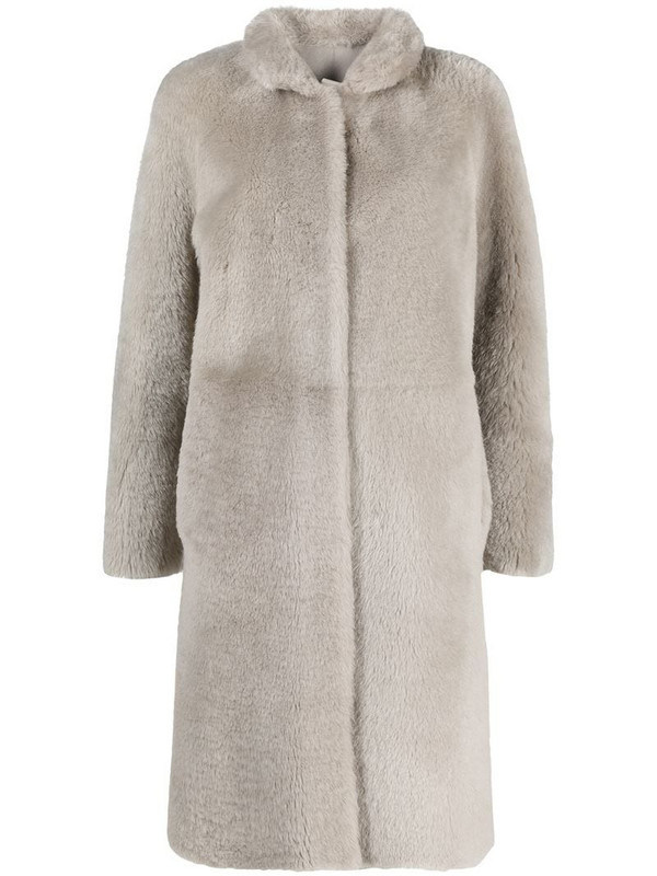 Suprema reversible leather coat in neutrals