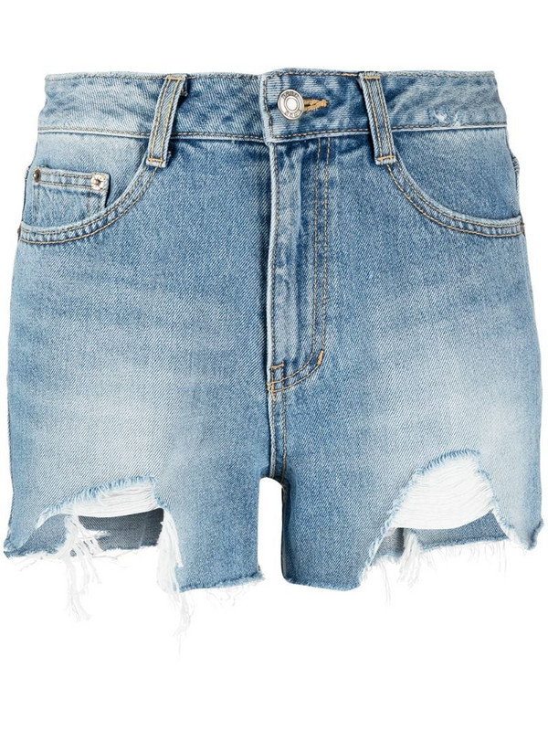 SJYP distressed denim shorts in blue