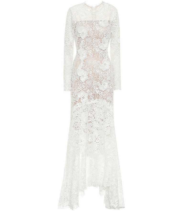 Costarellos Charla asymmetric pleated lace gown in white
