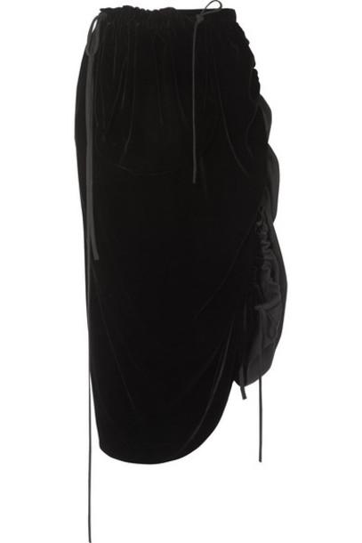Loewe - Velvet And Linen Midi Skirt - Black