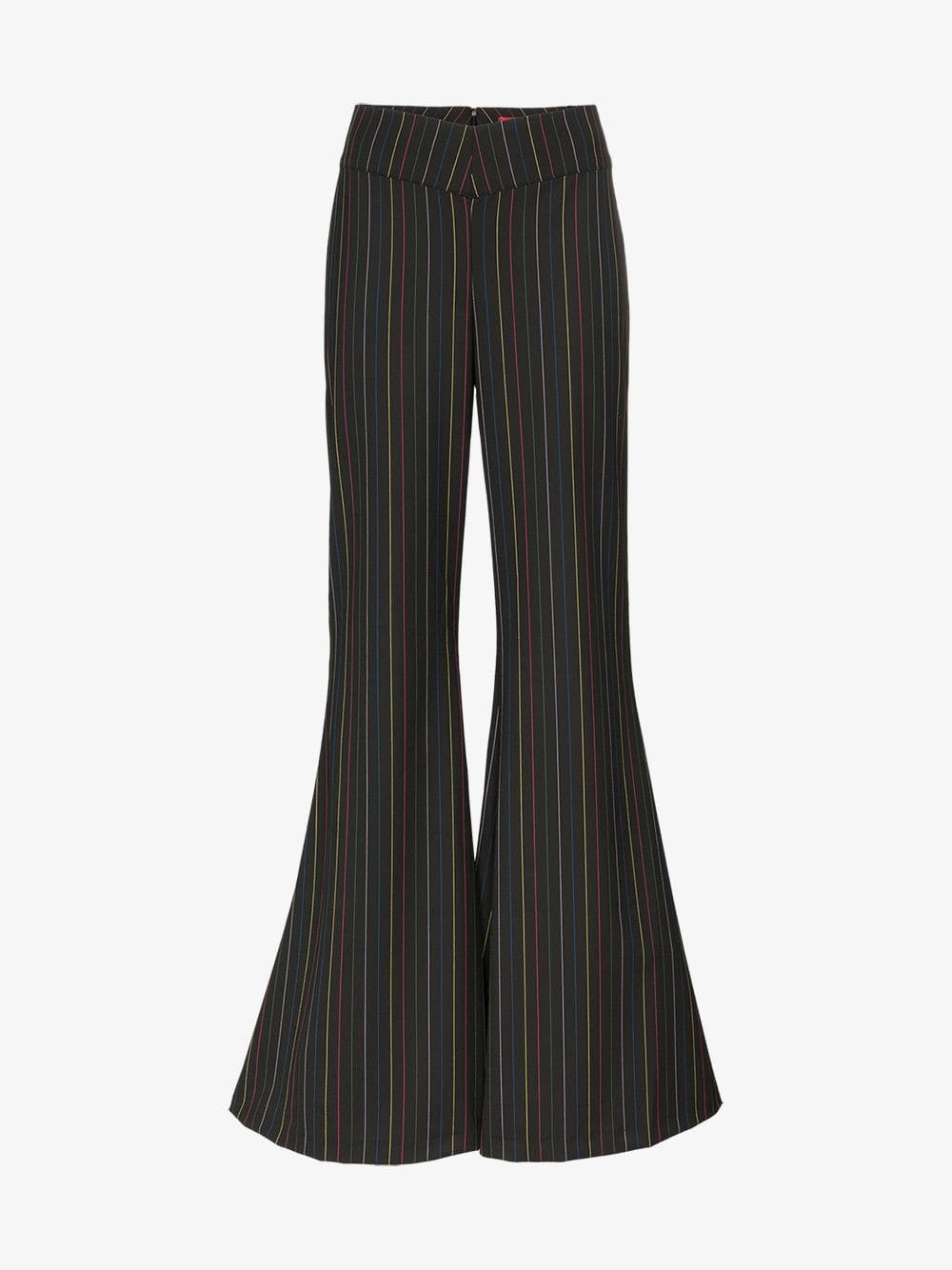 Staud rainbow striped wide flare trousers in black