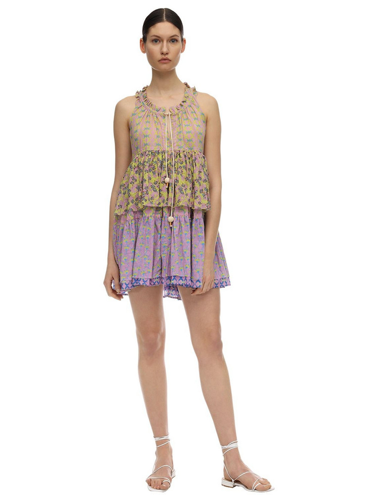 YVONNE S Cotton Voile Mini Dress in green / lilac