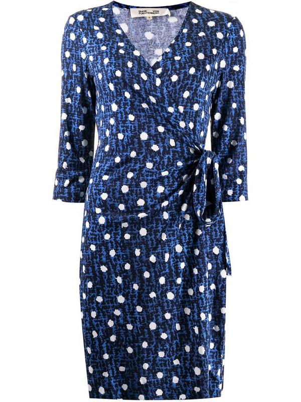 DVF Diane von Furstenberg dot print wrap dress in blue