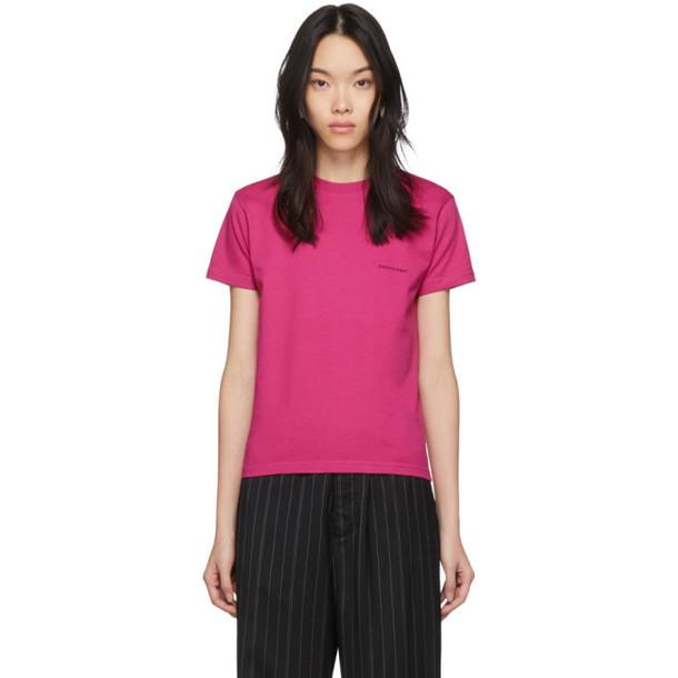 Balenciaga Pink Copyright Logo Fitted T-Shirt