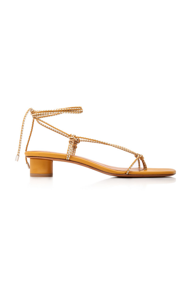 LoQ Dora Leather Lace-Up Sandals in yellow