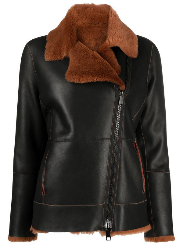 Suprema reversible leather jacket in black