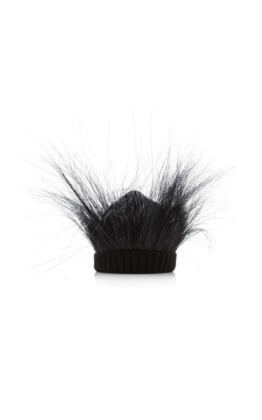 Marc Jacobs Feathered Wool Beanie in black