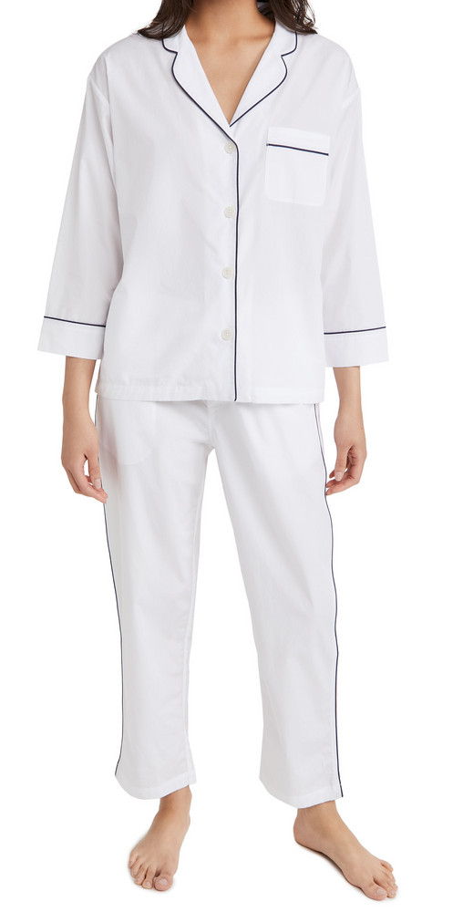 Sleepy Jones Marina Pajama Set in white