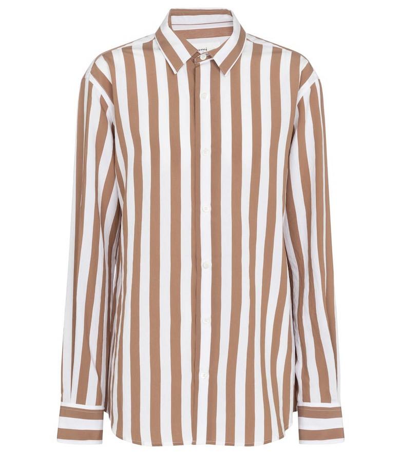 AMI PARIS Striped shirt in brown