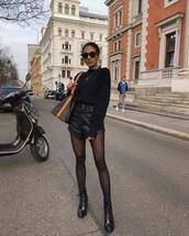 shorts,black shorts,High waisted shorts,leather shorts,black boots,patent boots,lace up boots,tights,black sweater,brown bag,louis vuitton bag