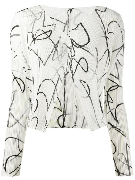 Pleats Please Issey Miyake printed pleated jacket in white