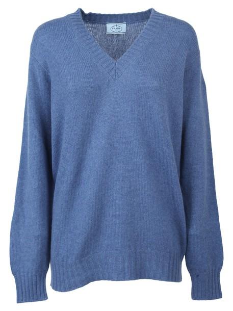 Prada Pullover Scollo A V in denim / denim