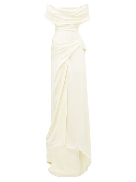 Vivienne Westwood - Dione Draped Off The Shoulder Satin Crepe Dress - Womens - Ivory