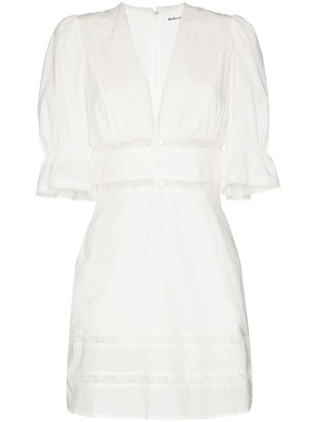 Reformation Cassatt lace trim mini dress in white